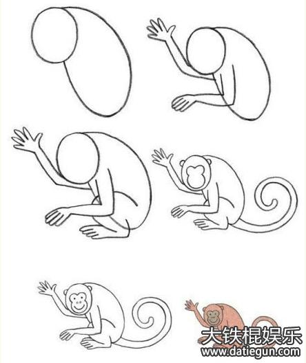 画猴子的简笔画:猴子简笔画图片大全可可简笔画